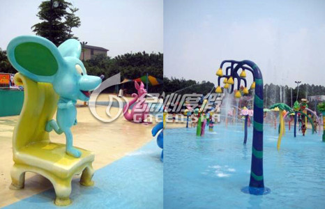 Custom Spray Aqua Park Equipment Mickey Chair for Kids Water Pool Toys